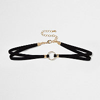 Black diamante ring choker