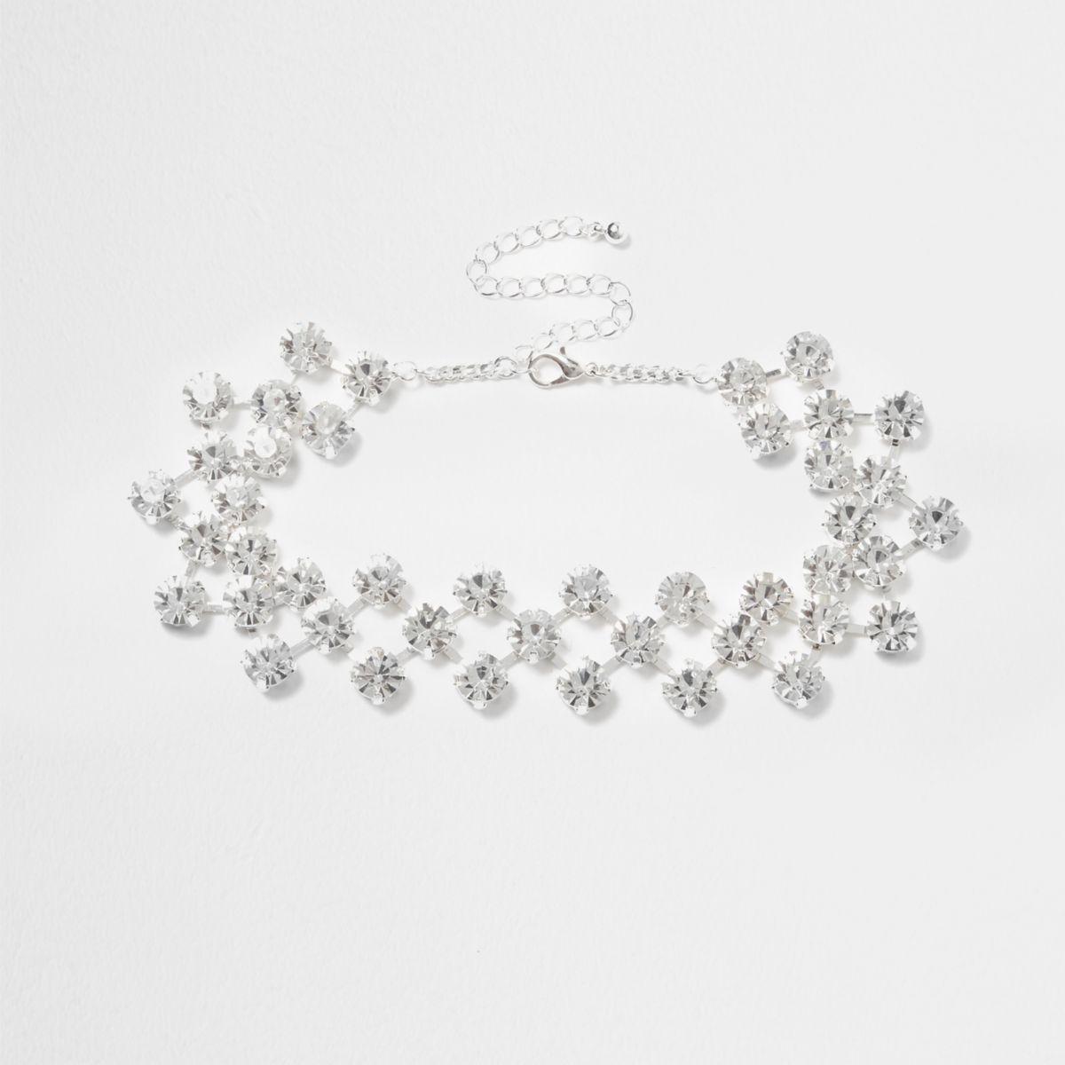 Silver tone diamante encrusted choker