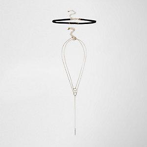 Black velvet ring chain choker set