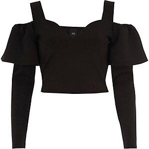 Black bardot frill long sleeve crop top