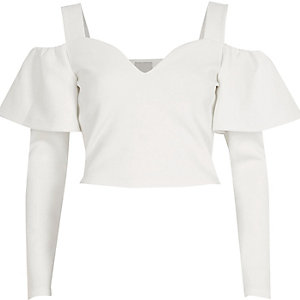 White frill sleeve bardot crop top
