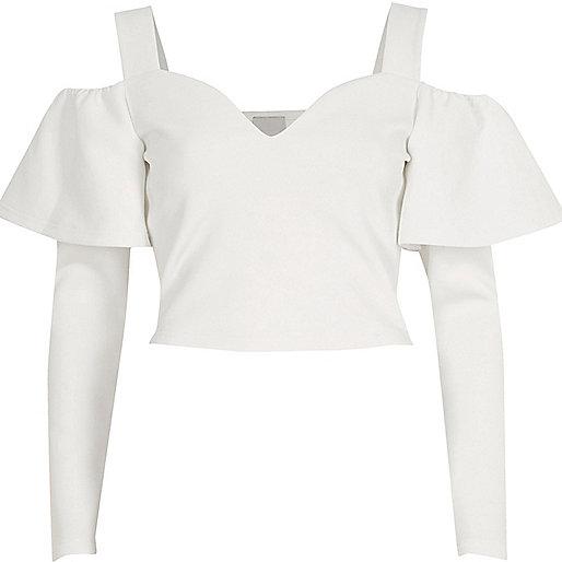 White frill sleeve bardot crop top