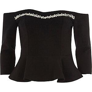 Top Bardot noir bordé de perles