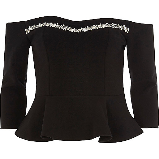 Black pearl trim bardot top