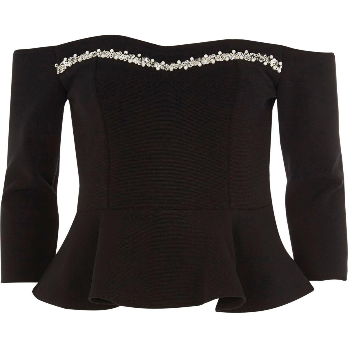 Schwarzes Bardot-Oberteil mit Perlenbesatz