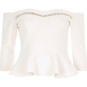 White embellished bardot fitted top