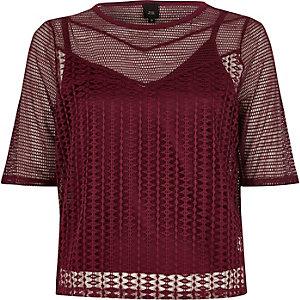 T-shirt slim en tulle ajouré rouge foncé