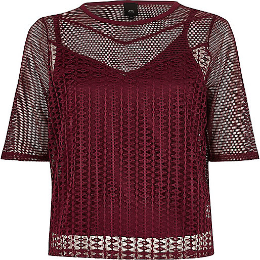 Dark red open mesh slim fit T-shirt