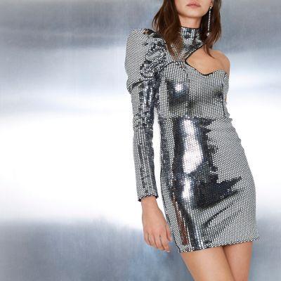 River Island Zilverkleurige jurk met uitsnede, spiegellovertjes en één mouw