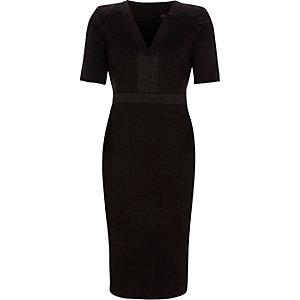 Black satin trim V neck bodycon midi dress