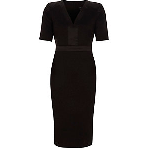 Black satin trim V neck bodycon midi dress