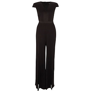 Black cap sleeve wide split leg jumpsuit