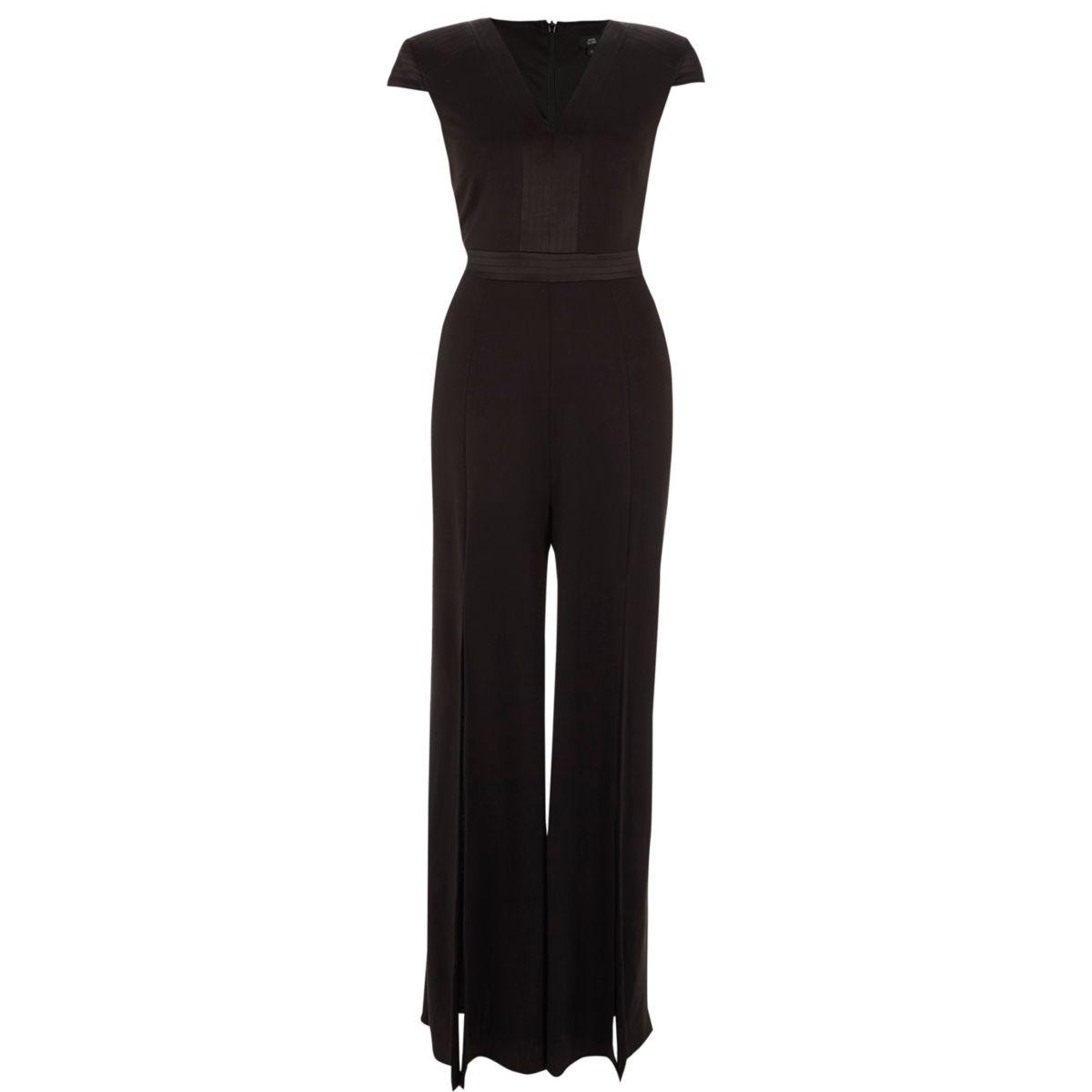 Zwarte jumpsuit met wijde pijpen met split en kapmouwtjes