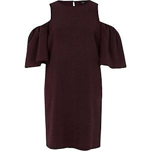 Swing-Kleid in Bordeaux mit Schulterausschnitten