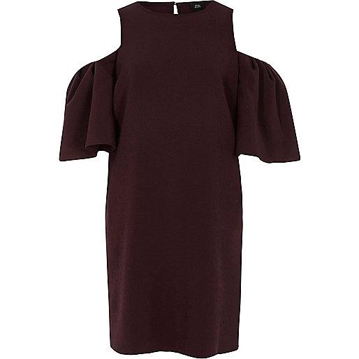 Burgundy cold shoulder swing dress