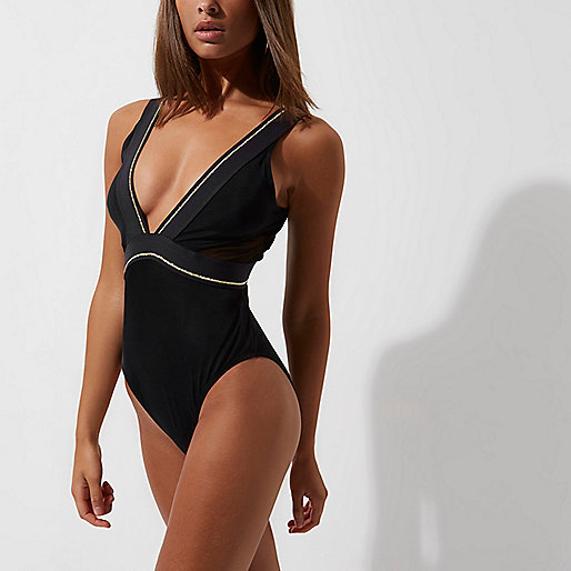 Black gold tipped plunge swimsuit