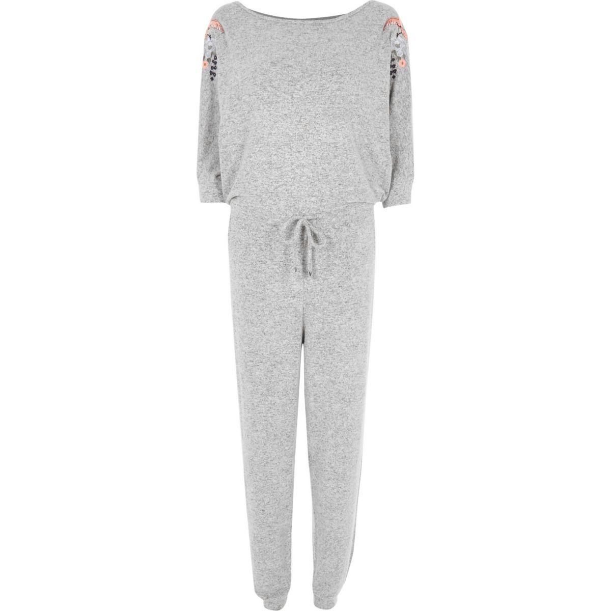 Light grey floral embroidered jumpsuit