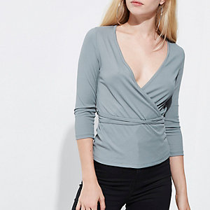 Blue rib wrap ballerina top
