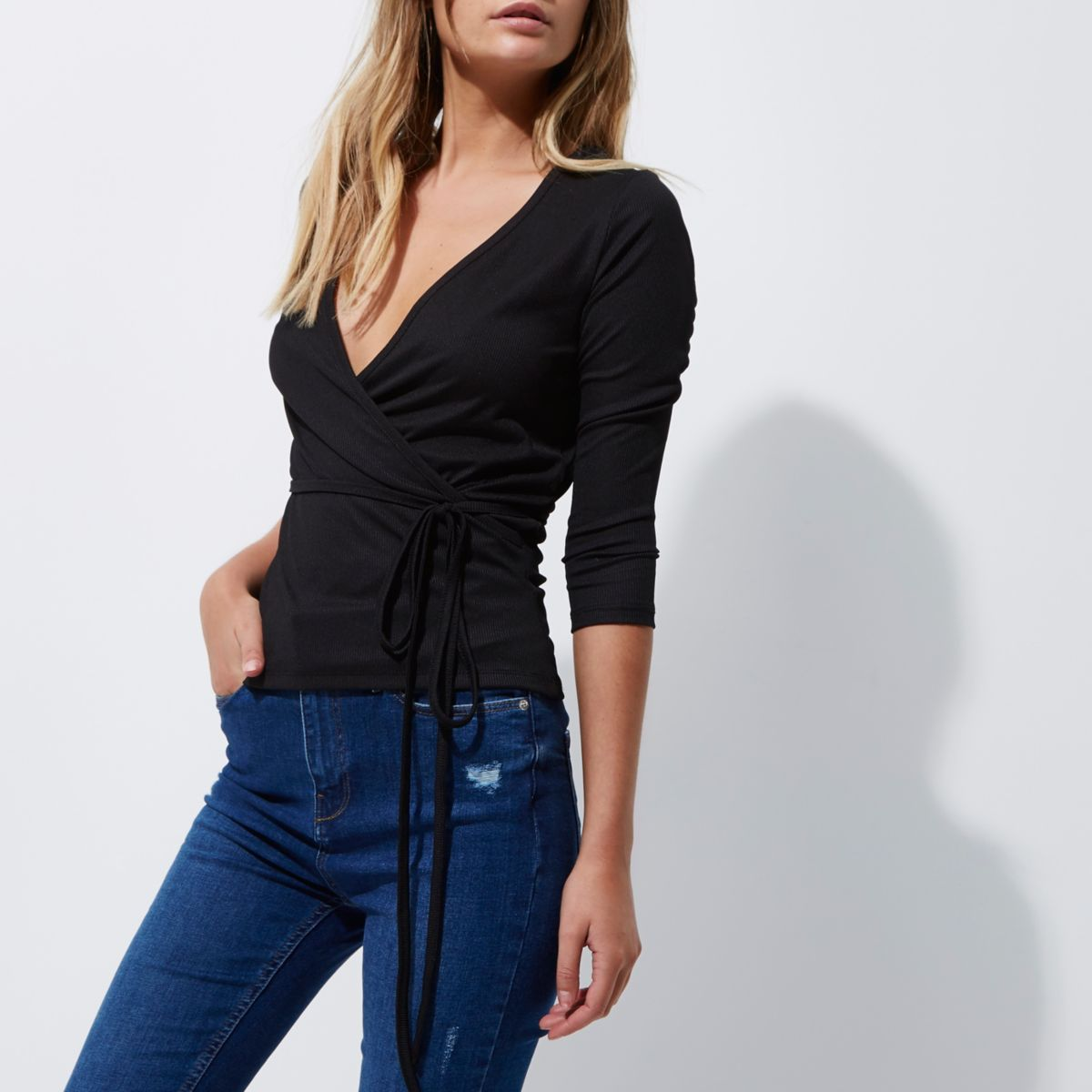 Black rib wrap ballerina top