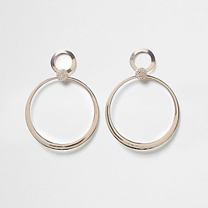 Rose gold tone pave hoop drop earrings