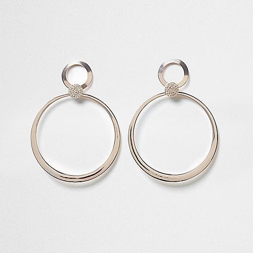 Rose gold tone pave hoop drop earrings