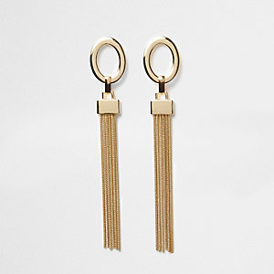Gold tone drop tassel earrings
