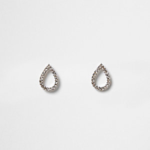 Silver tone teardrop stud earrings