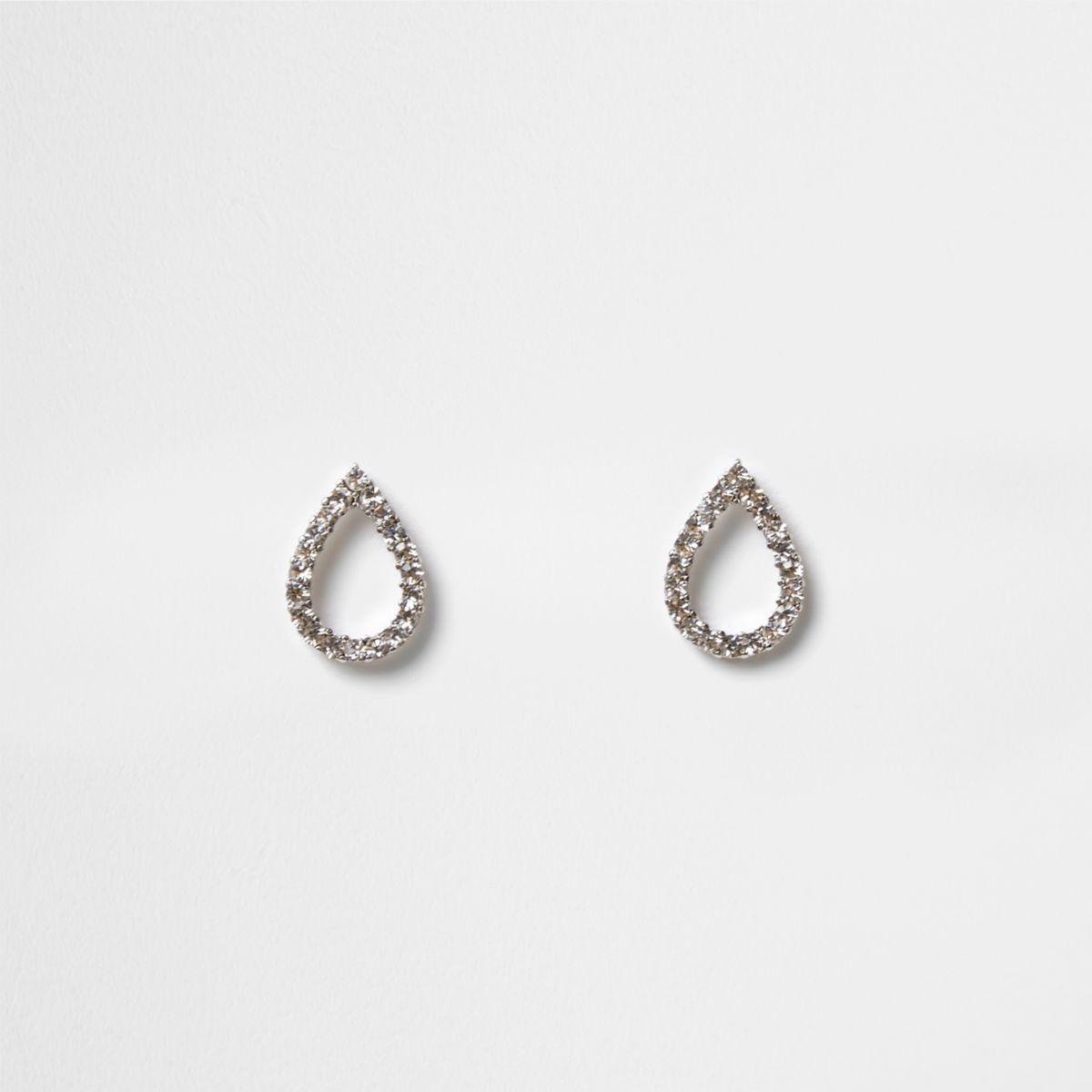 Silver tone teardrop stud earrings