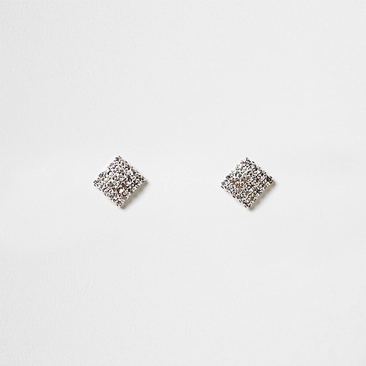 Silver tone diamante square stud earrings