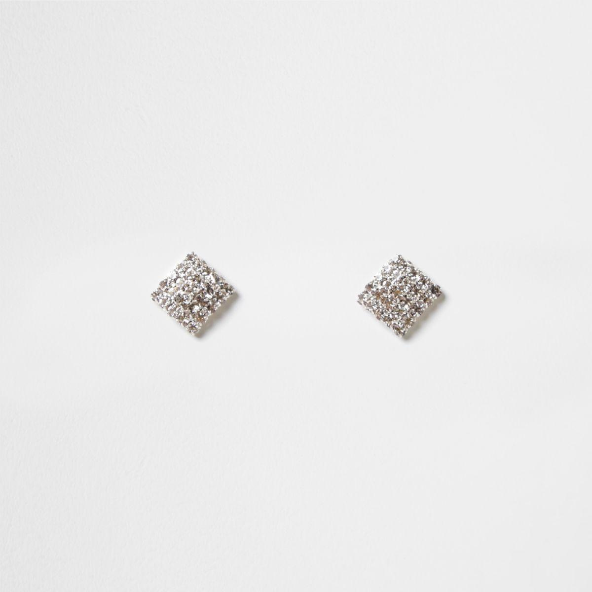 Silver tone diamante square stud earrings
