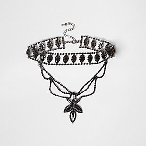 Black rhinestone multi row drop choker
