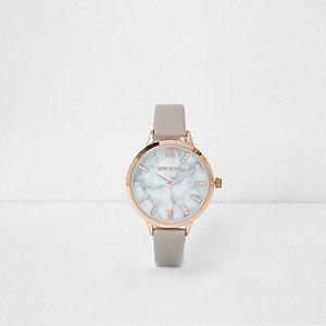 Graue, runde Marmor-Armbanduhr