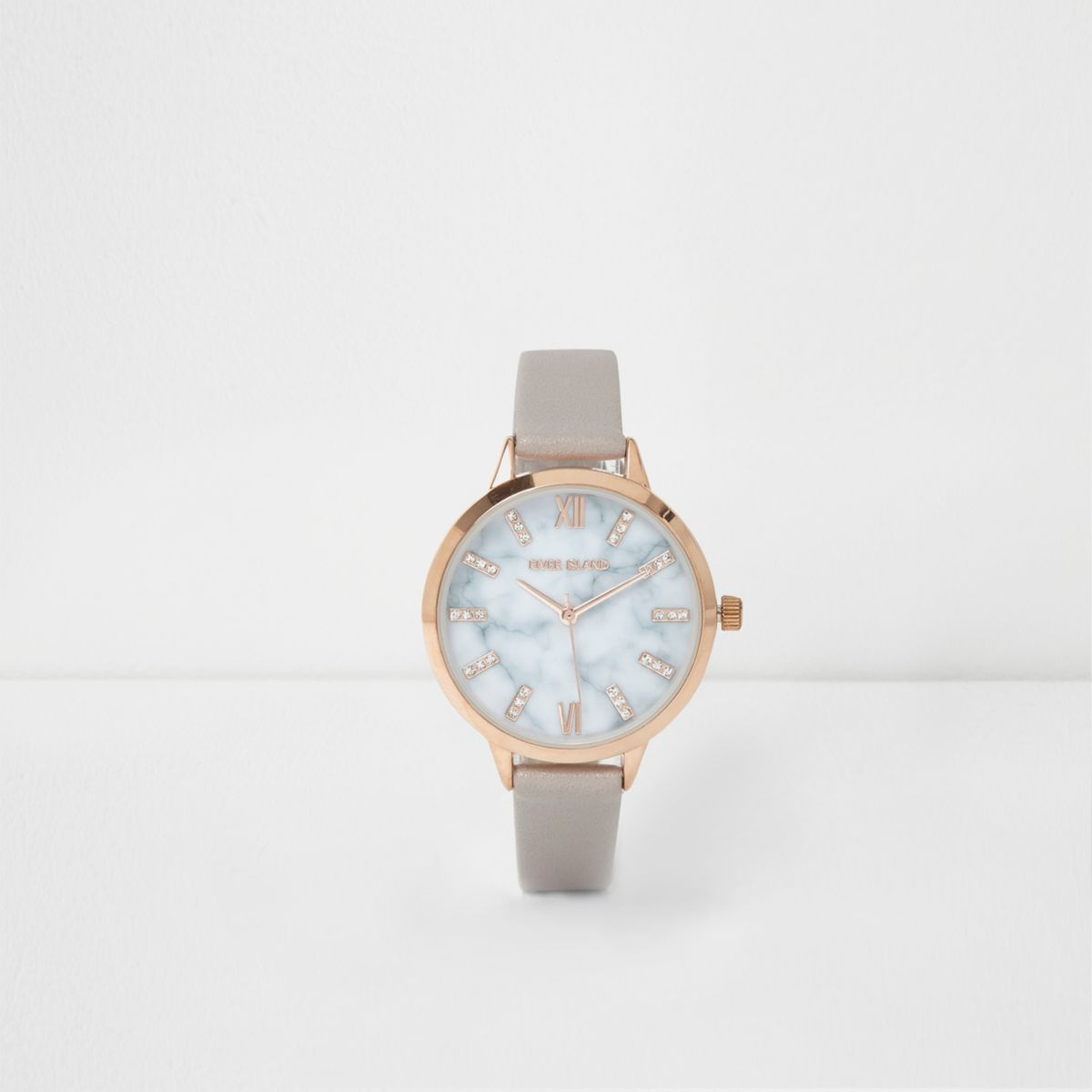 Grey round marble face watch
