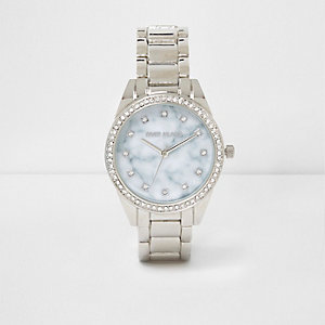 Zilverkleurige horloge met ronde marmeren wijzerplaat