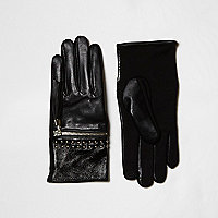 Black zip tassel studded leather gloves