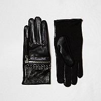 Gants en cuir noirs zippés cloutés à franges