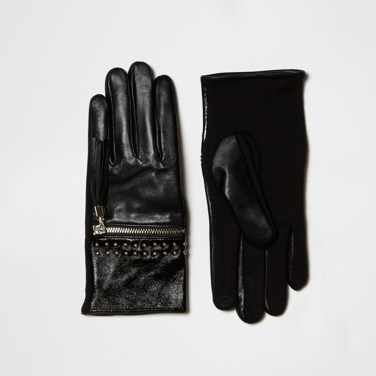 Black zip tassel studded leather gloves