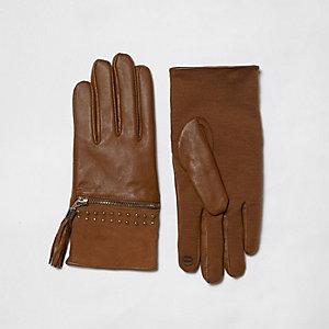 Bruine suède handschoenen met kwastjes en rits