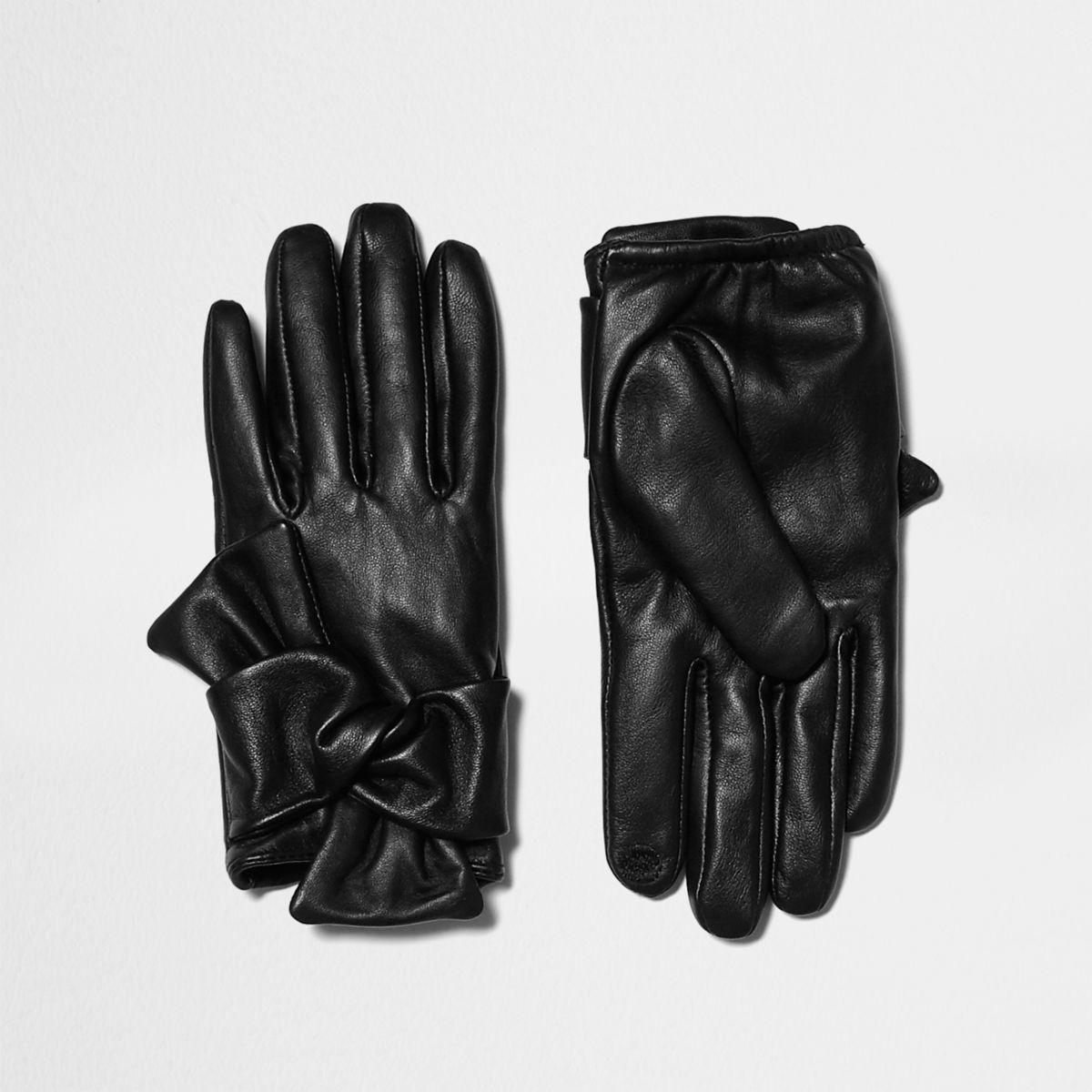Zwarte leren rijhandschoenen met strik