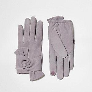 Grijze suède handschoenen met strik