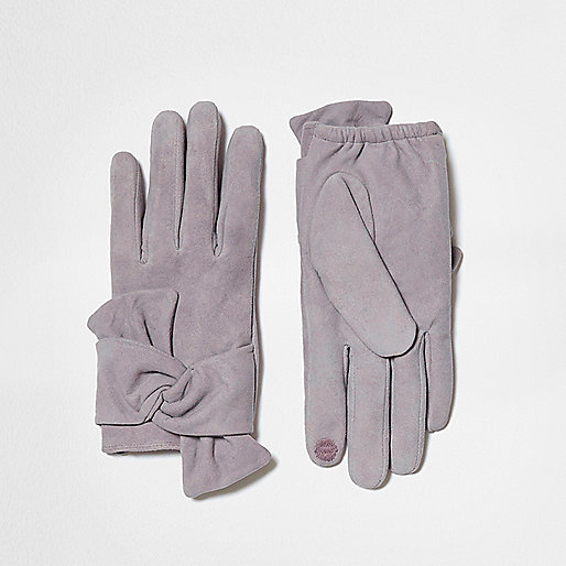 Grey suede bow driving gloves