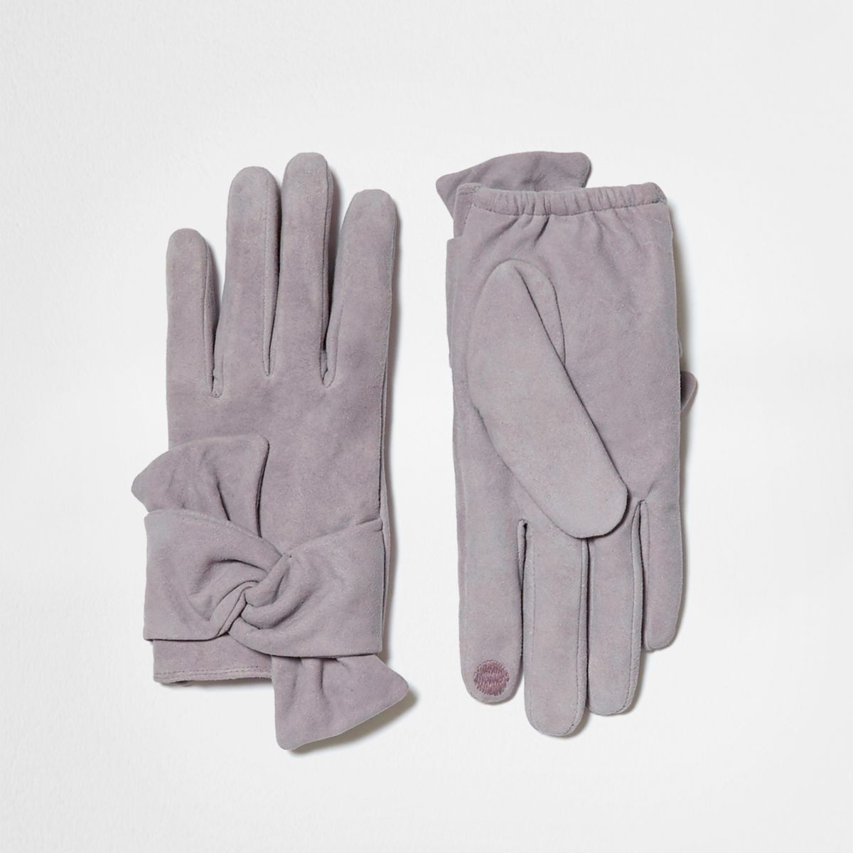 Grey faux suede bow driving gloves