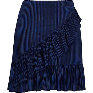 Blue cord frill front mini skirt