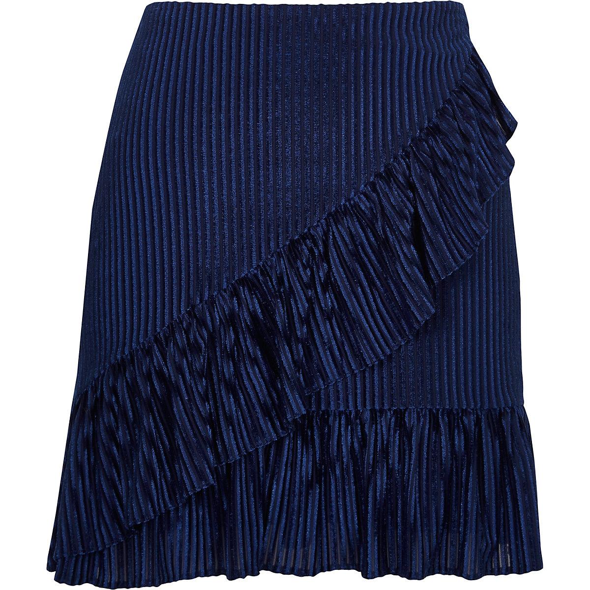 Mini-jupe en velours côtelé bleu à volant devant