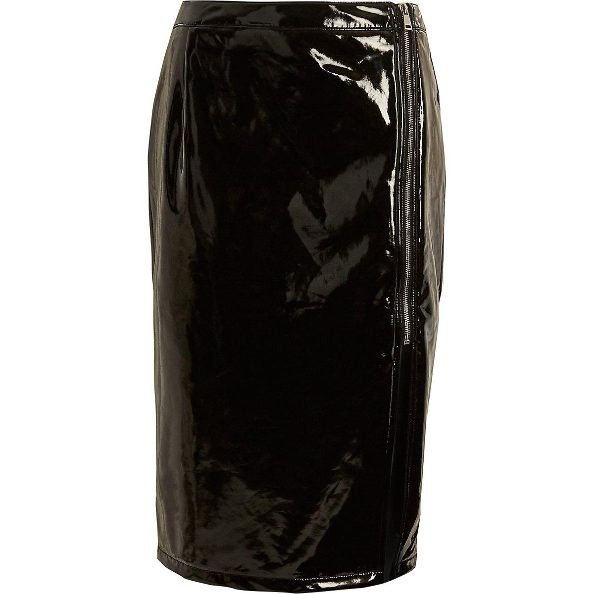 Black vinyl front split pencil skirt