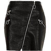 Black faux leather patent hoop zip mini skirt