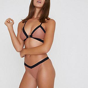 Bas de bikini marron clair côtelé taille basse