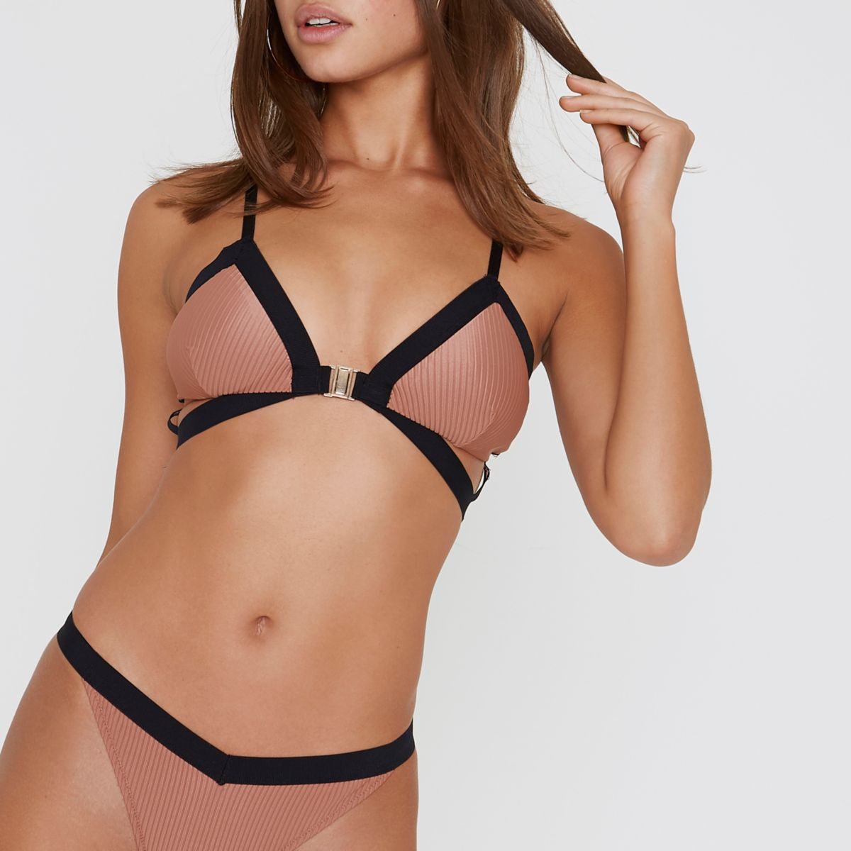 Light brown clip front triangle bikini top