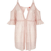 Pink lace cold shoulder beach cover up