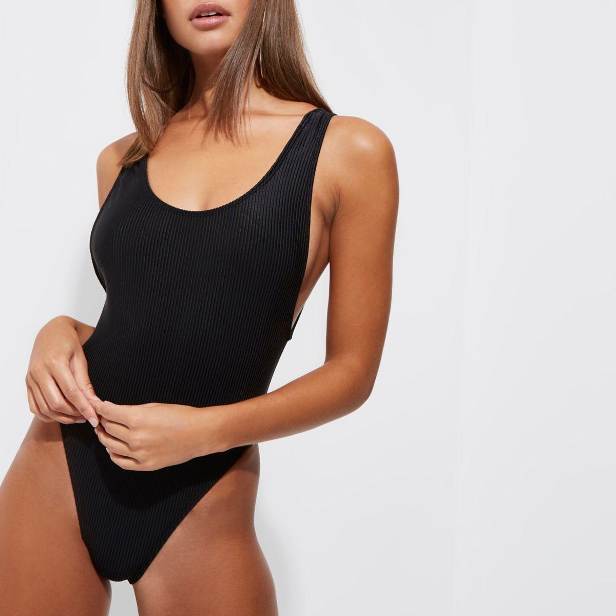 Black ribbed high leg swimsuit